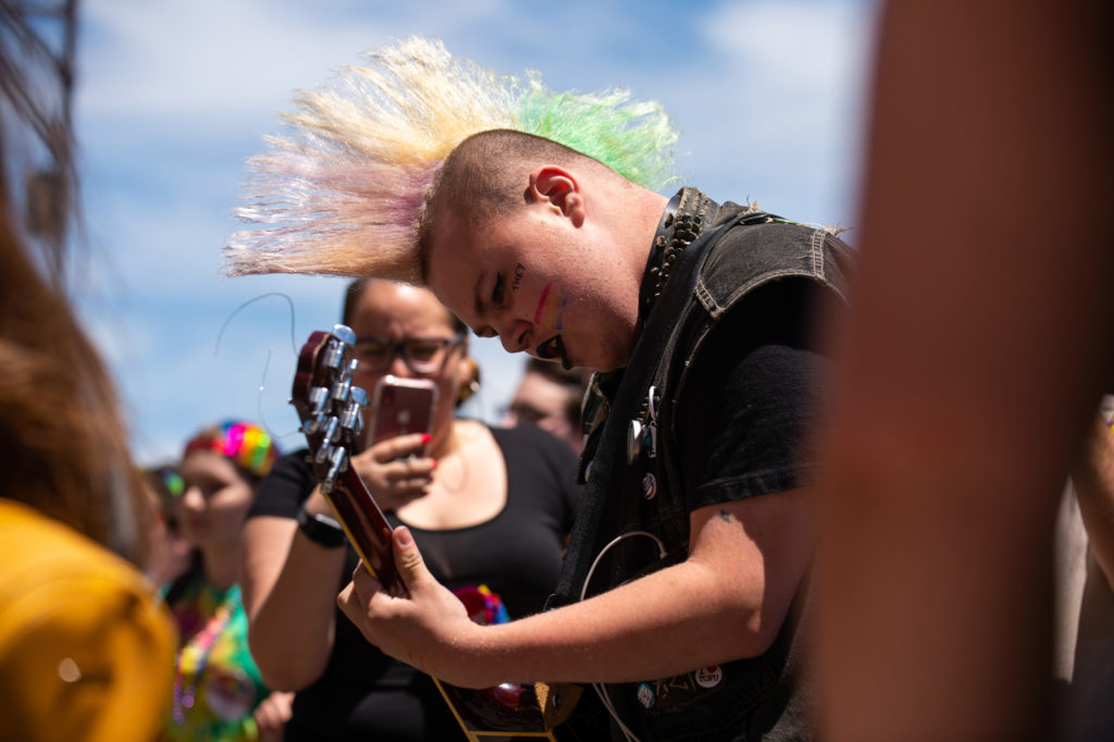 Skye Rose played guitar to help drown out an anti-gay protest at Penn's Landing