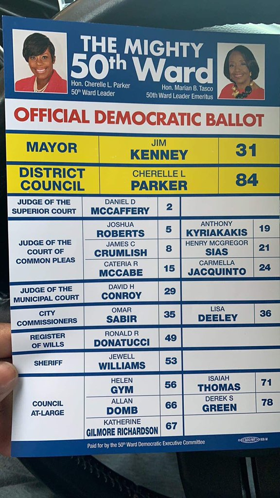 The 50th Ward Democratic ballot in Northwest Philly