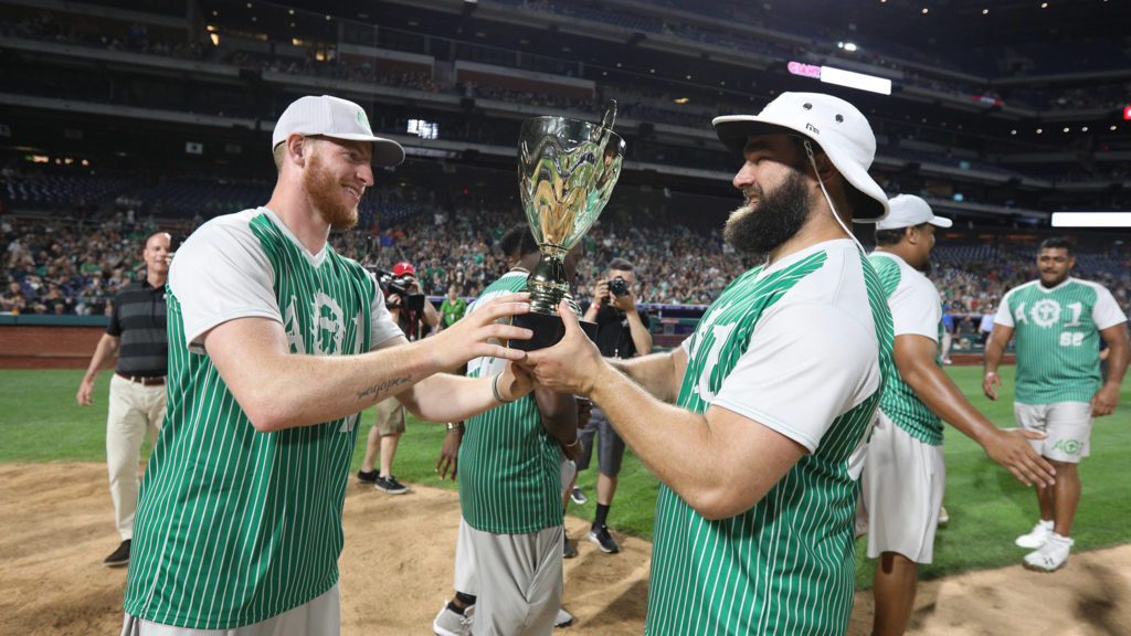 12065855 Wentz charity softball game raises $500k, hints at 'golden era' for ...