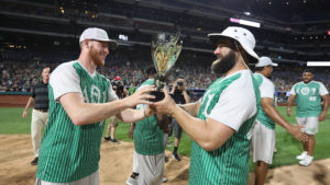 Carson Wentz and Jason Kelce at the second annual AO1 Charity Softball Game
