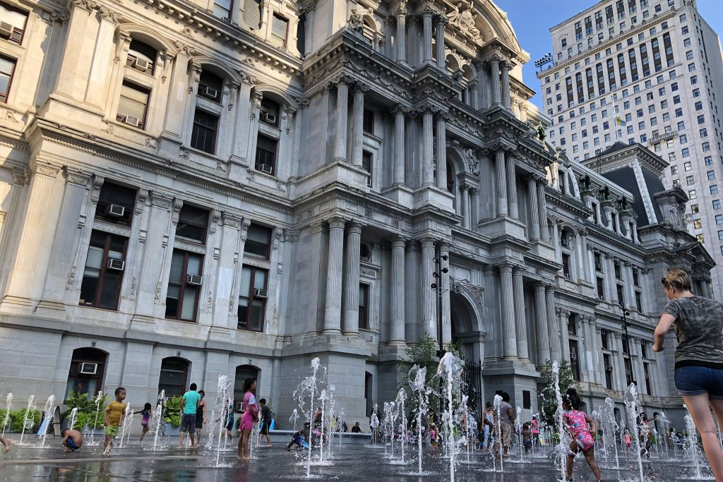 Kids enjoyed cooling off in the Dilworth Park fountains during the heat wave