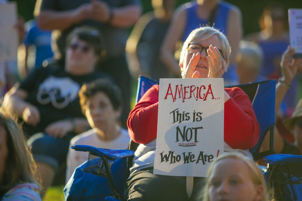 Collingswood, NJ - JULY 12, 2019. People from the Philadelphia area gather for a vigil as part of the nationwide movement Lights for Liberty in Collingswood, NJ on Friday July 12, 2019. Lights for Liberty is a nationwide movement that gather outside the concentration camps and local communities. (Miguel Martinez/WHYY)