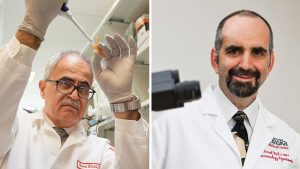 Dr. Kamel Khalili in his lab at Temple; Dr. Howard Gendelman in Nebraska