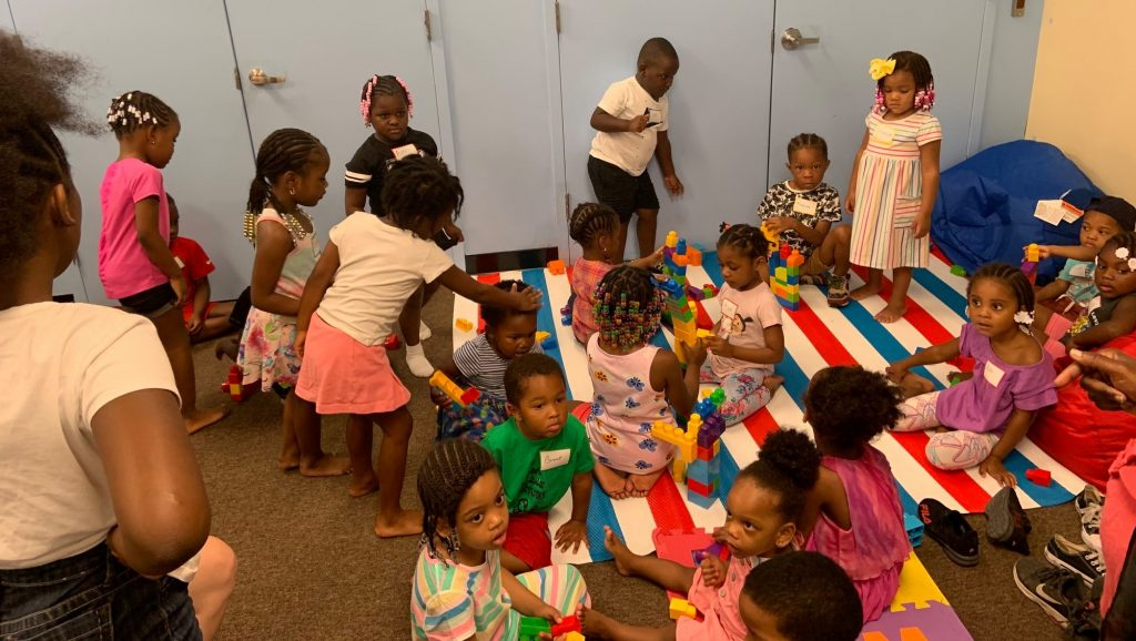 Toddlers at the Mighty Writers West summer camp