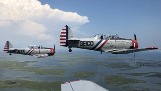 The Geico Skytypers are a one-of-a-kind fleet of vintage planes that do precision formation stunts