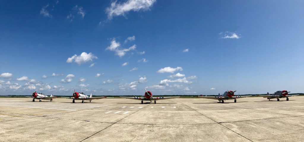 The Geico Skytyper fleet lines up before takeoff