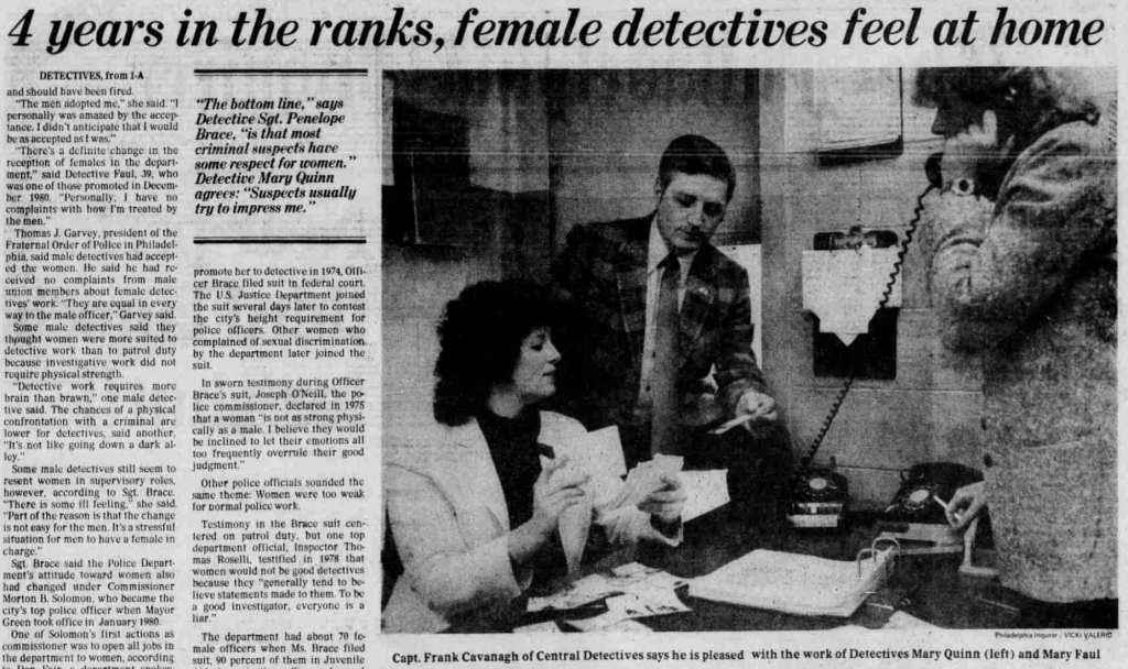 At last, in 1979, women were hired as PPD detectives.