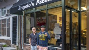 Front-of-house expert Martin Cugine and chef Brad Spence outside Angelo's in South Philly