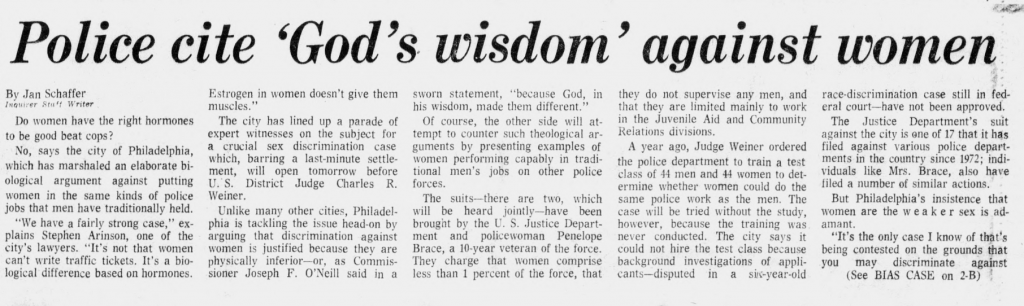 The debate over women cops played out in a February 1976 edition of the Inquirer.