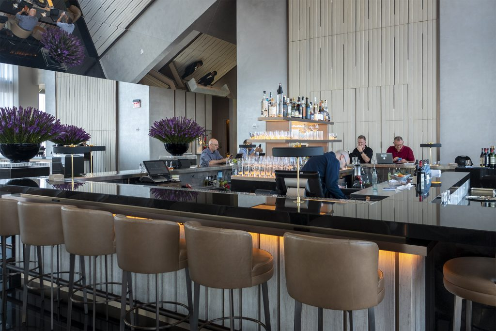 The bar at JG SkyHigh is the hotel's slightly more casual top-floor dining spot