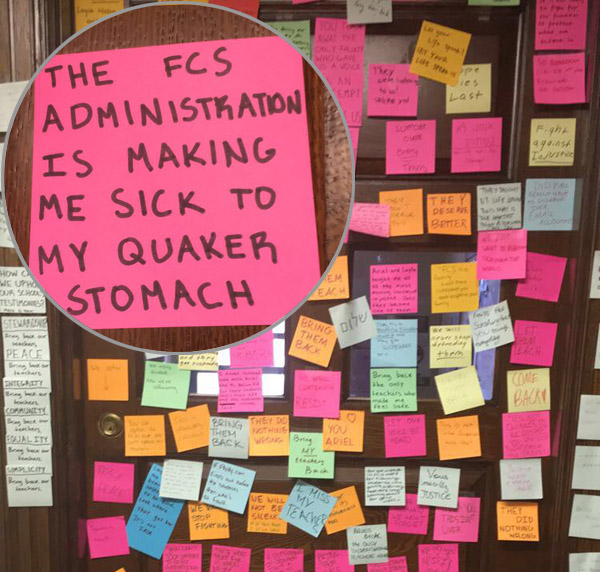 Students posted notes in protest of the teachers' suspension, before they were fired