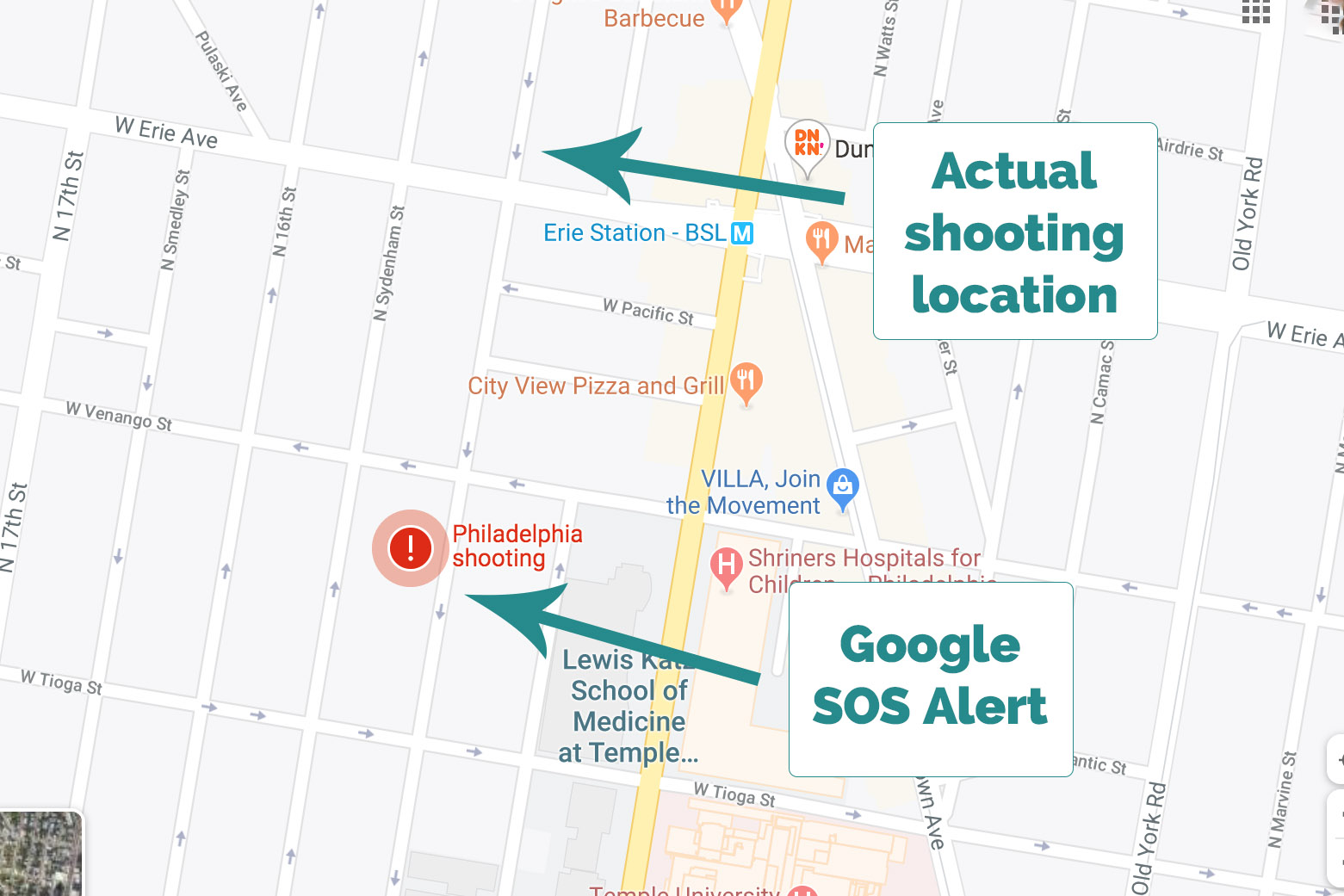 Google sent up an SOS for the North Philly shooting -- in the wrong