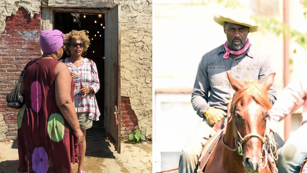 Strawberry Mansion residents (left) are abuzz about Idris Elba in their neighborhood (right)