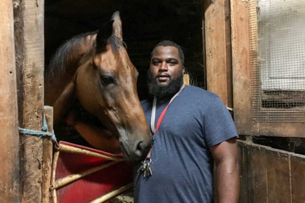 Stephon Tolbert in the stables