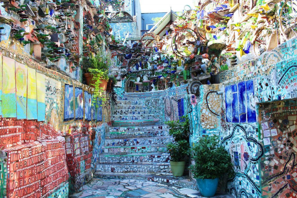 Artist Isaiah Zagar's mosaic murals are found all over South Philadelphia, but the place to start is the Magic Gardens on South Street