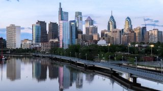 Philly skyline above the Schuylkill Banks Boardwalk