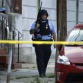 A police officer patrolled the block near the shooting in Nicetown-Tioga
