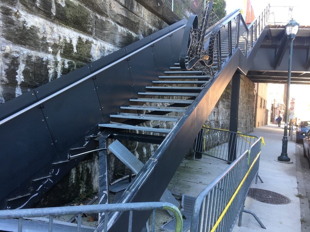 Officials aren't sure when they'll be able to fix the Rail Park steps.