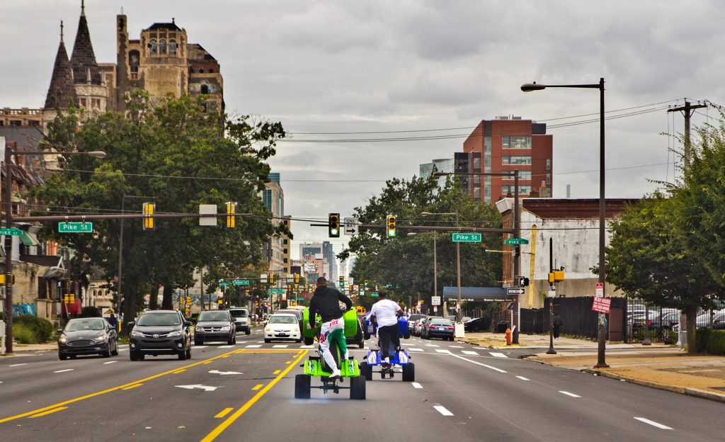 A Hunting Park ATV crew wheelies down Broad Street