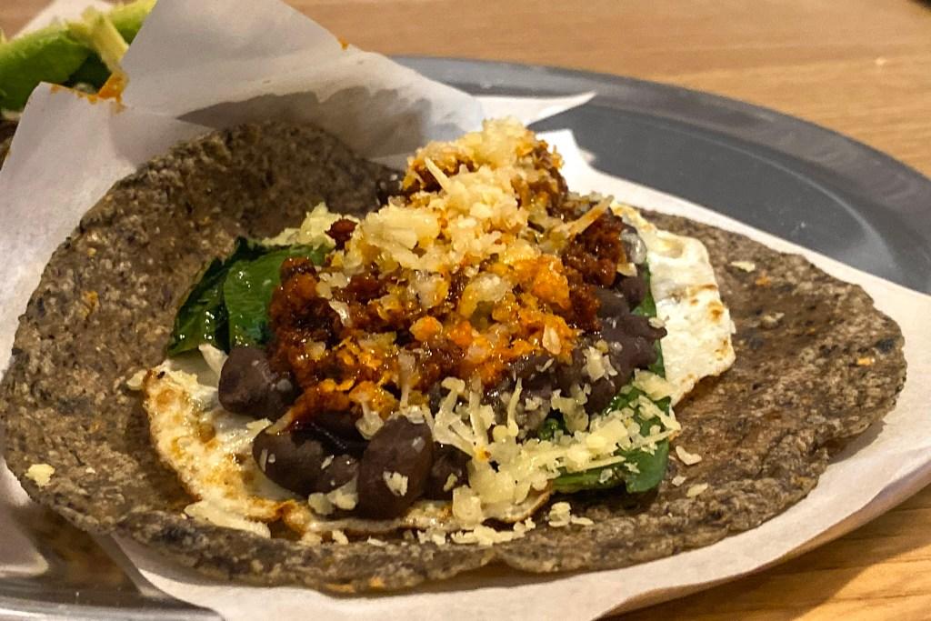 Chorizo taco at El Cafe