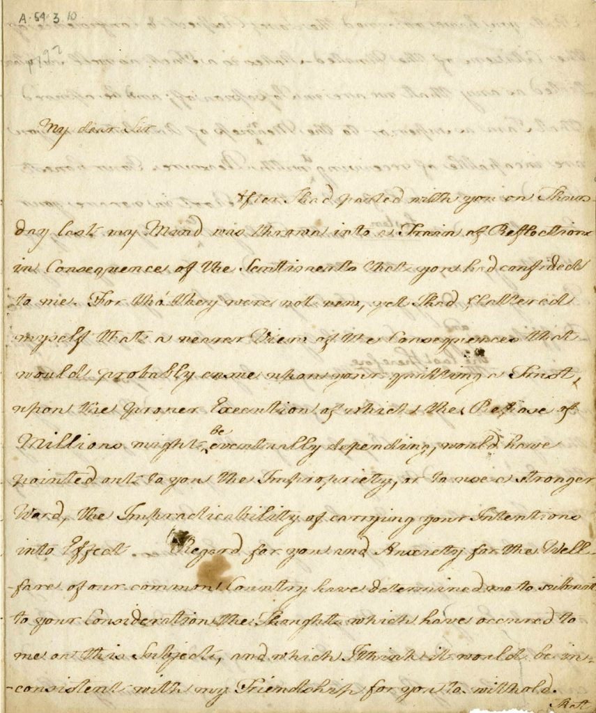 One page of Elizabeth Powel's letter to George Washington, urging him to run for a second term