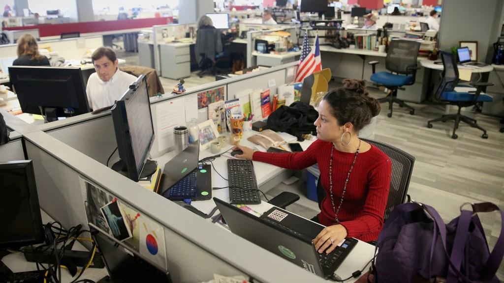Jesenia De Moya Correa in the Inquirer newsroom