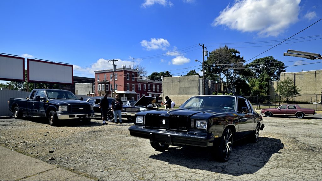 The local classic and American muscle car community gathers for a meet on a North Philadelphia, on Sunday