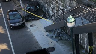 A chevy smashed into the Rail Park steps on Tuesday after the driver had a seizure.