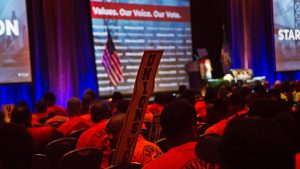 Union members attended the Worker's Presidential Summit at the Pennsylvania Convention Center in Philadelphia
