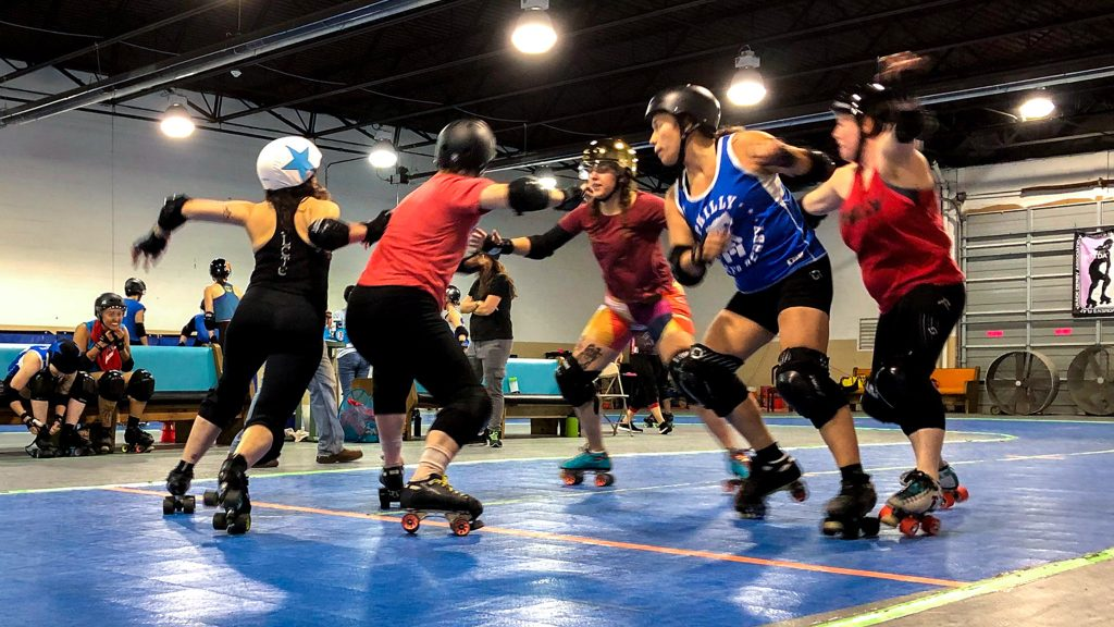 Philly's roller derby team practices plays in the runup to champs.