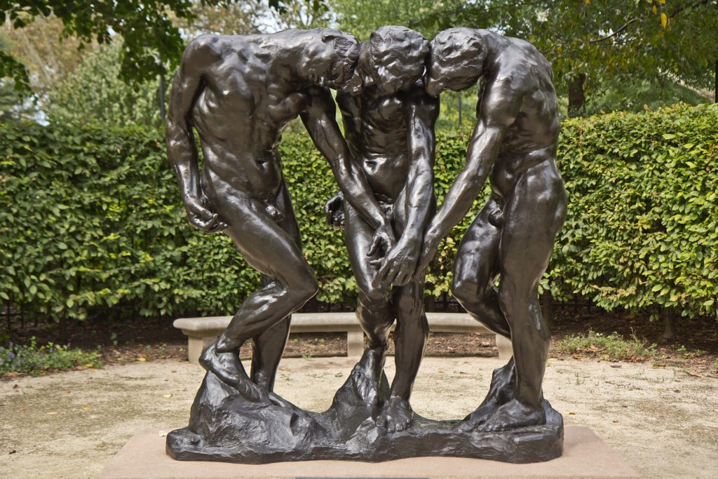 Rodin's work 'The Three Shades' is installed in the garden