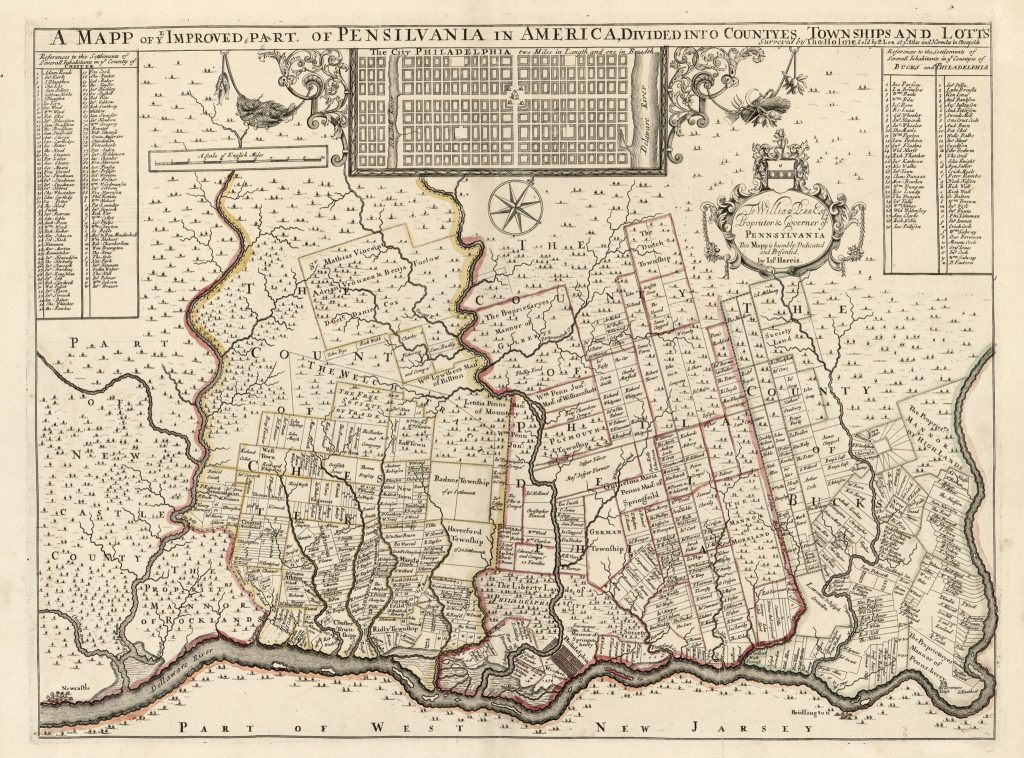 'A mapp of ye improved part of Pensilvania in America, divided into countyes, townships, and lotts'