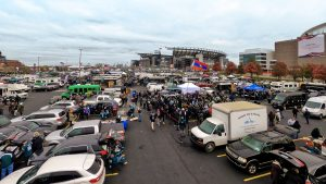 Fans tailgating outside Lincoln Financial Field