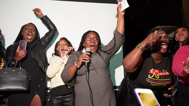 Kendra Brooks at her victory party Tuesday night