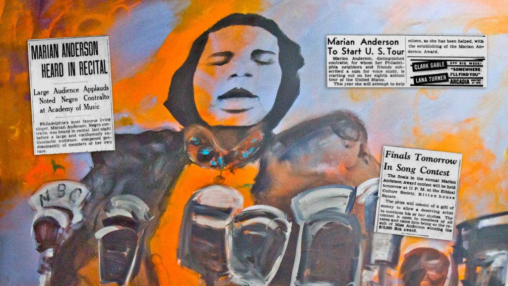A portrait of Marian Anderson hangs in her former home, now a museum