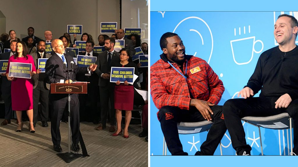 Left: Pa. Sen. Vincent Hughes surrounded by other Pa. officials; Right: Meek Mill and Michael Rubin