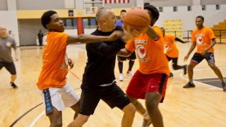 Philly police officers face off against sophomores from Parkway Center City Middle College at a tournament to raise awareness of gun violence in Philadelphia