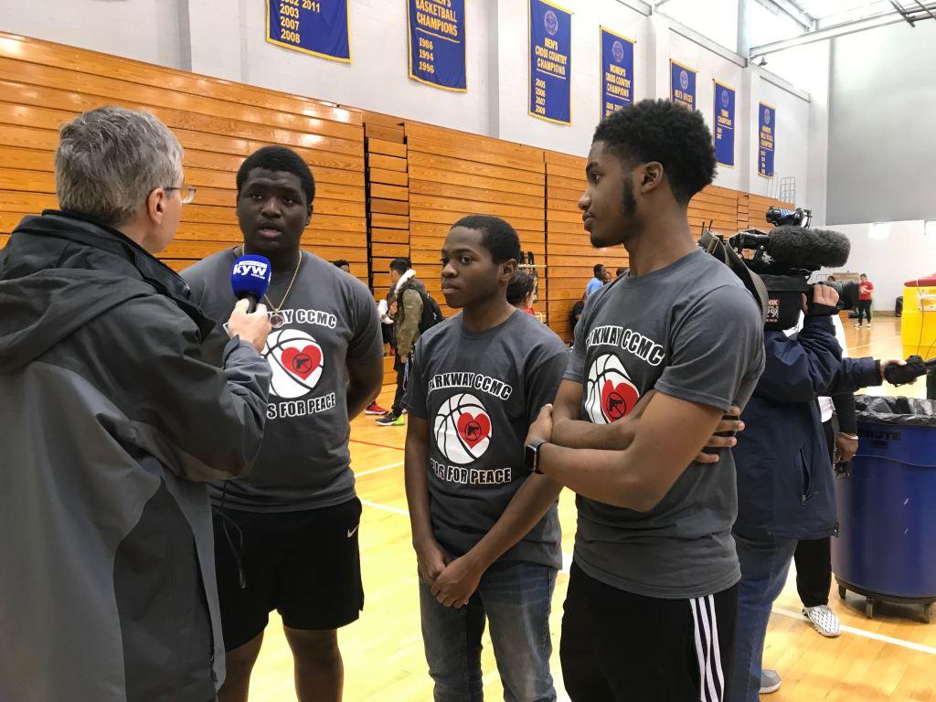(Left to right) Students Frank Gillis-Corbitt, Quadir Gamble and Jaden Burnett organized a benefit basketball tournament