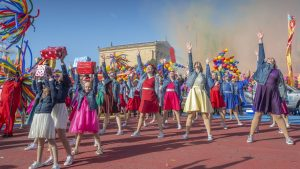 A dance routine in front of the Philadelphia Museum of Art during the 100th Philadelphia Thanksgiving Day Parade