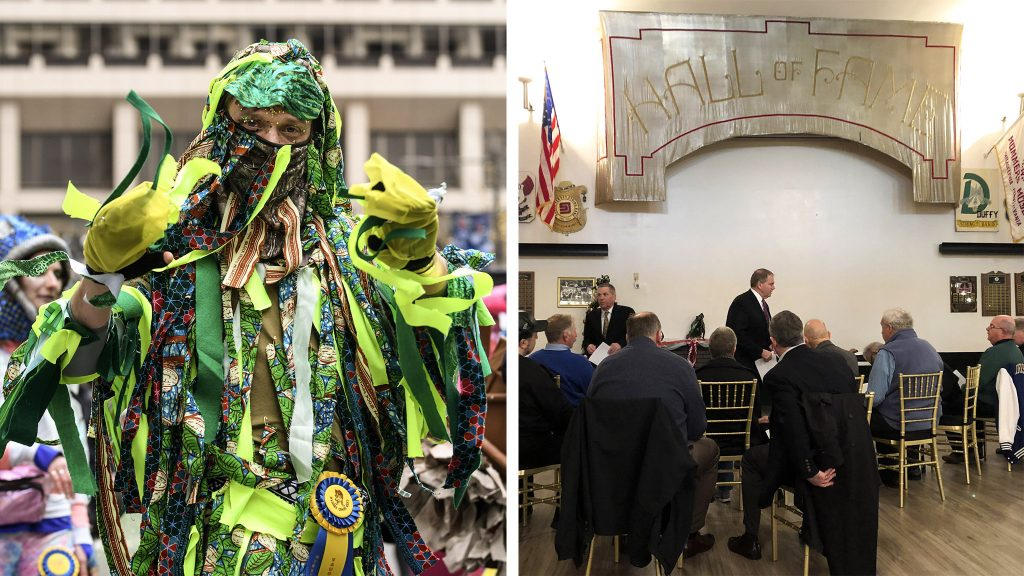 A Mummer in 2019; Judges gather for a lunch before the 2020 parade
