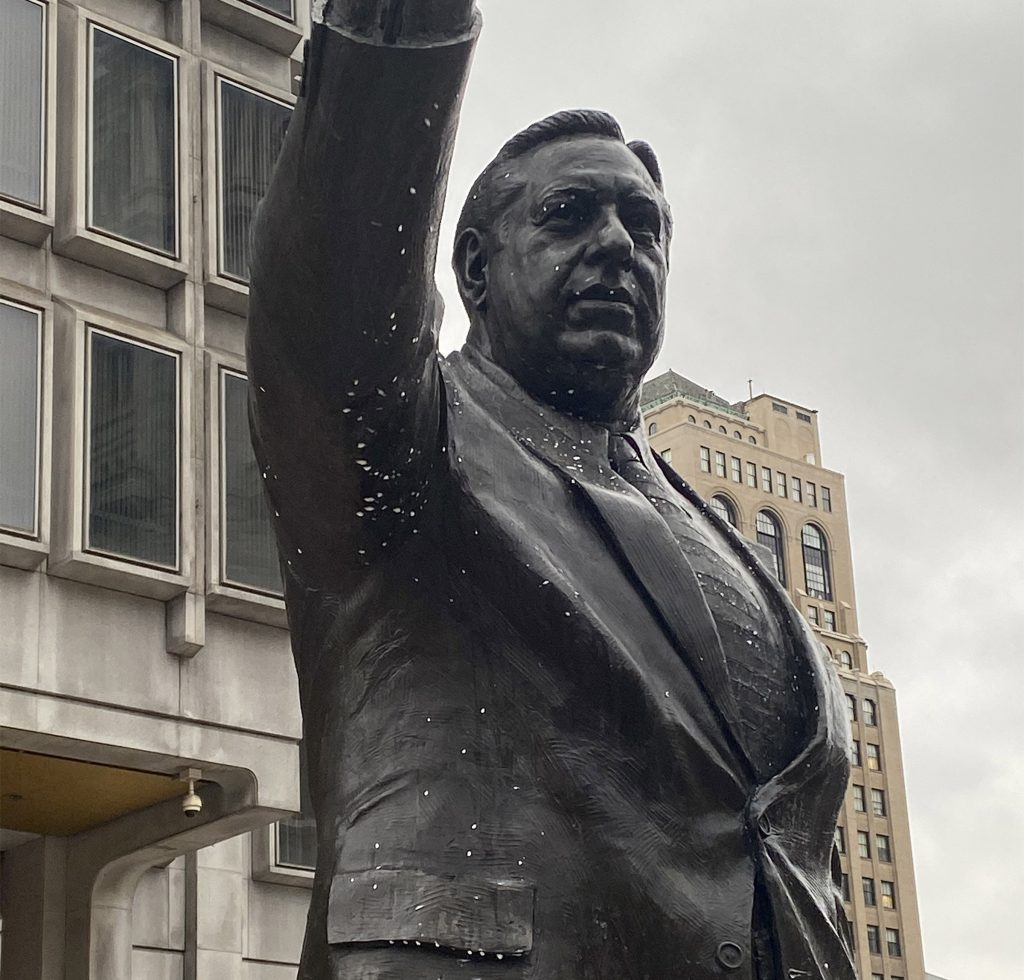 The Rizzo statue was covered with noodles Tuesday morning