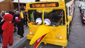 A talking Big Bird fronted the Sesame Street-themed bus