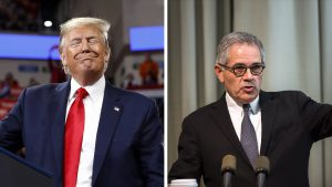 President Trump at a rally in Hershey on Dec. 11; DA Krasner in Philadelphia on Nov. 21