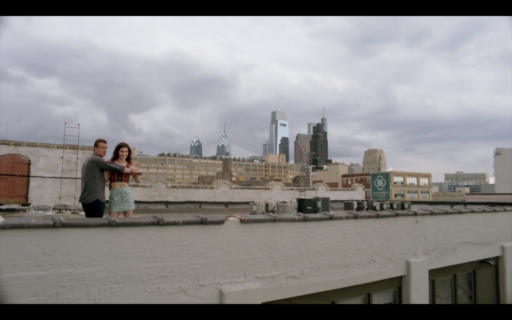 Jason Segal and co-star Eve Lindley on the roof of 1235 Spring Garden Street.