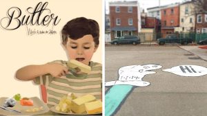 Butter and Salmon album cover; Butter and Salmon sidewalk art