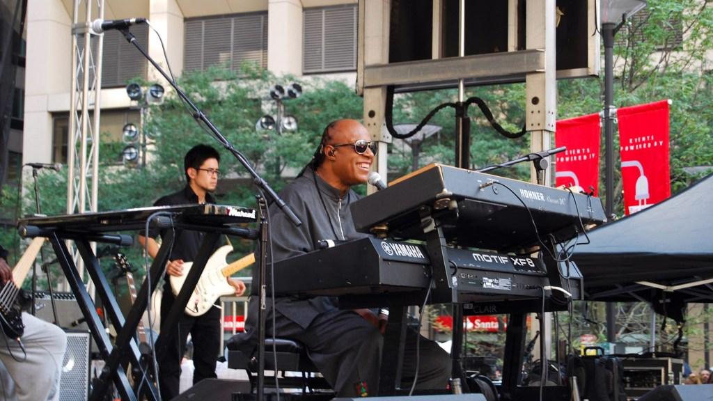 Stevie Wonder performs at Dilworth Park in 2015