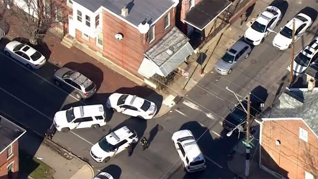 The scene in Frankford during the short but fatal gun battle