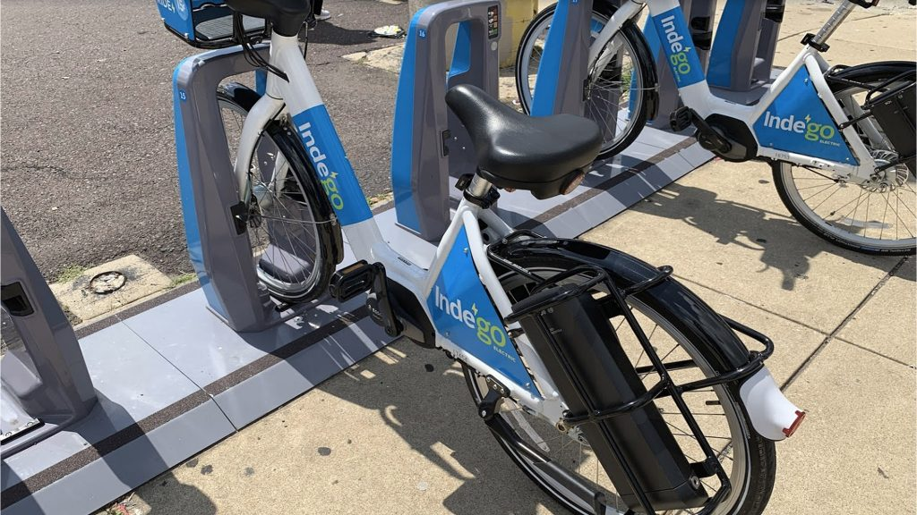 Indego electric bikes were differentiated by their white paint jobs