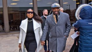 Councilman Kenyatta Johnson and his wife Dawn Chavous exiting federal court Friday