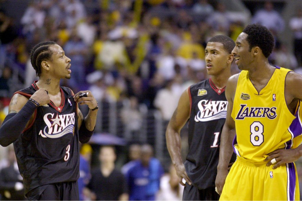 Iverson argues with Bryant at the end of Game 2 of the NBA Finals in Los Angeles, Friday, June 8, 2001